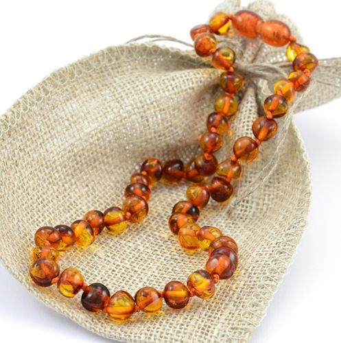 Baltic Amber Teething Necklace made of Baroque Cognac Amber