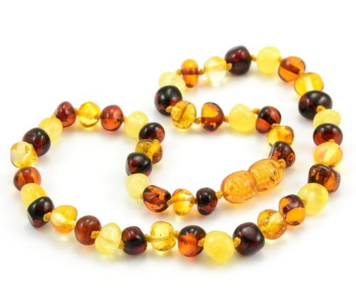 Amber Teething Necklace Made of Baroque Multicolor Baltic Amber