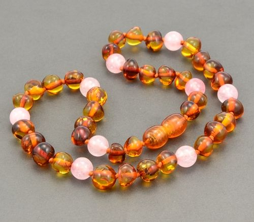 Amber Teething Necklace made of Baltic Amber and Rose Quartz