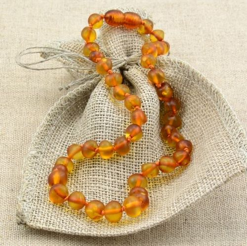 Amber Teething Necklace Made of Matte Baltic Amber