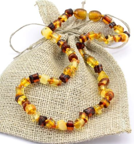 Amber Teething Necklace Made of Multicolor Baltic Amber
