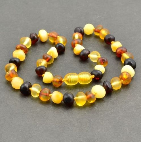 Amber Teething Necklace made of Matte Baroque Baltic Amber