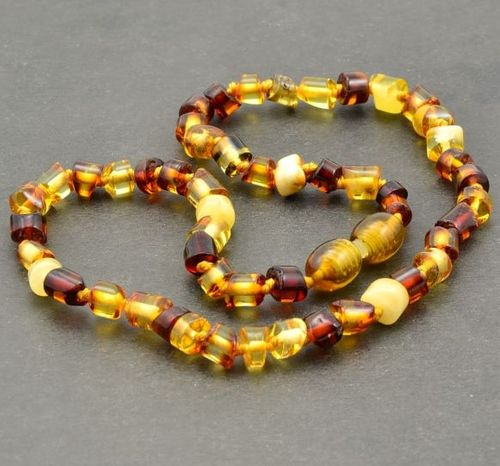 Amber Necklace Made of Multicolor Baltic Amber