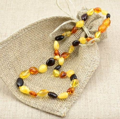 Baltic Amber Teething Necklace Made of Multicolor Amber