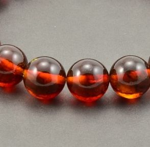Lot of 10 Perfectly Round Dark Cognac Baltic Amber Beads