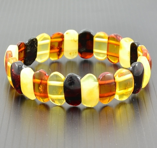 Amber Bracelet with Polished Multicolor Healing Amber