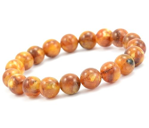 Amber Bracelet with Polished Marble Baltic Amber