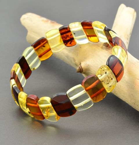 Amber Bracelet Made of Multicolor Healing Amber