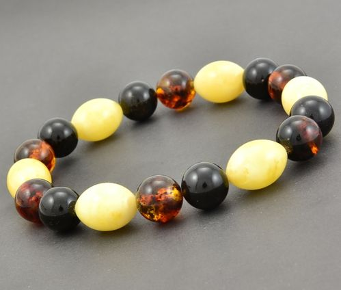 Amber Bracelet Made of Multicolor Amazing Baltic Amber