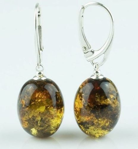 Green Amber Earrings Made of Precious Healing Baltic Amber