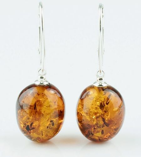 Amber Earrings Made of Light Cognac Baltic Amber