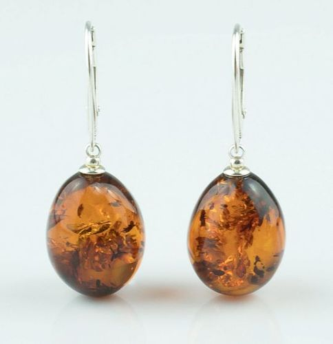 Amber Earrings Made of Cognac Baltic Amber