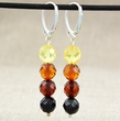 Amber Faceted Multicolor Earrings