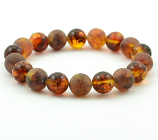 Amber Bracelet With Polished And Matte Healing