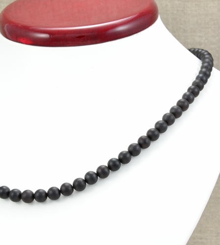 Amber Necklace Made of Black Matte Amazing Baltic Amber