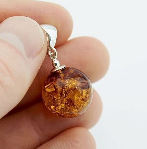 Amber Pendant Made of Made of Cognac Baltic Amber