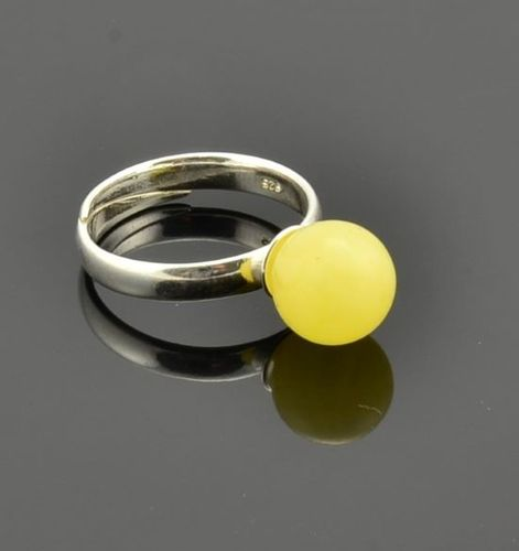 Amber Ring Made of Matte Butterscotch Baltic Amber