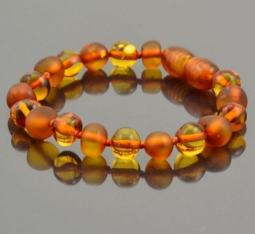 Amber Teething Bracelet Made of Matte and Polished Baltic Amber
