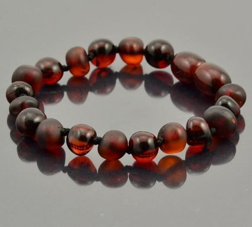 Amber Bracelet Made of Matte and Polished Baltic Amber