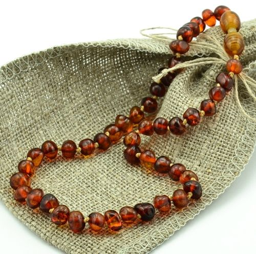 Baltic Amber Teething Necklace Baroque Dark Cognac Amber