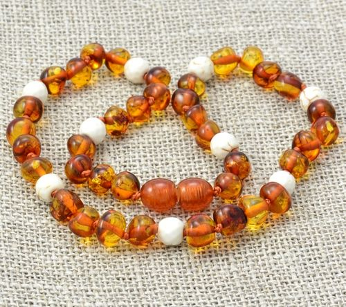Amber Teething Necklace Made of Baltic Amber and White Turquoise