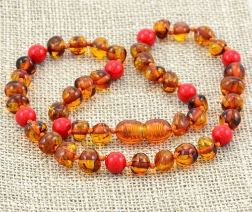 Amber Teething Necklace Made of Cognac Baltic Amber