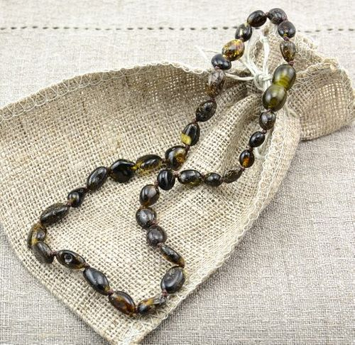Amber Teething Necklace Handmade of Healing Baltic Amber