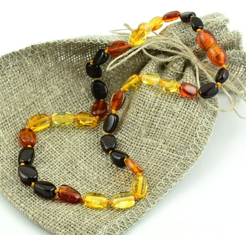 Baltic Amber Teething Necklace Made of Multicolor Baltic Amber