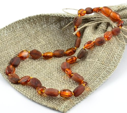 Baltic Amber Teething Necklace Handmade of Polished and Raw Amber