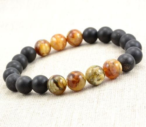 Bead Bracelet For Men Made of Matte and Polished Healing Amber