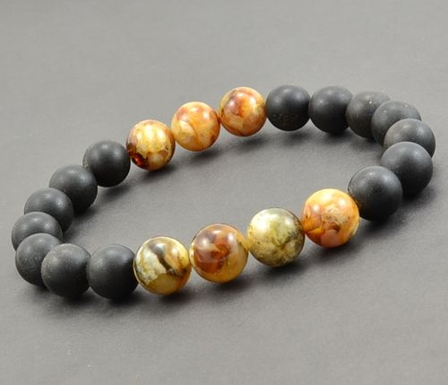 Bead Bracelet For Men Made of Matte and Polished Amazing Amber