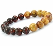 Men's Bead Bracelet with Dark Cognac and Light Marble Amber