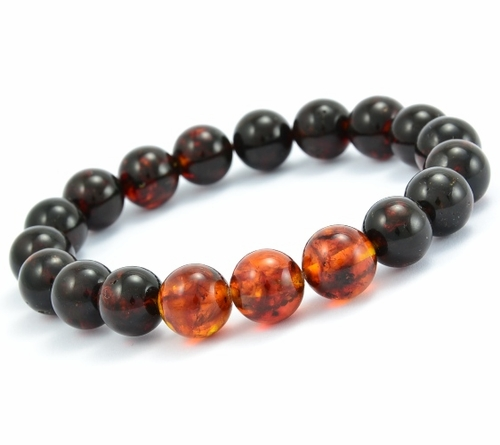 Beaded Bracelet for Men Made of Black and Cognac Amazing Healing Amber