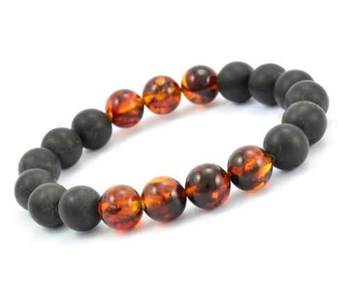 Beaded Bracelet for Men Made of Black and Cognac Amazing Amber