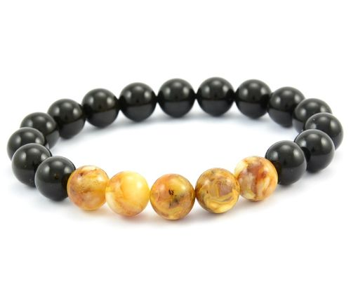 Beaded Bracelet for Men Made of Black and Marble Healing Amber