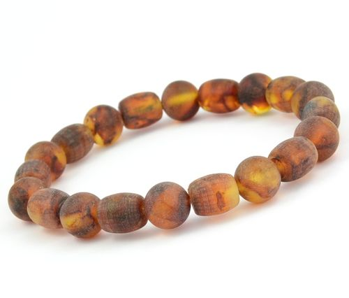 Beaded Bracelet for Men Made of Healing Matte Baltic Amber