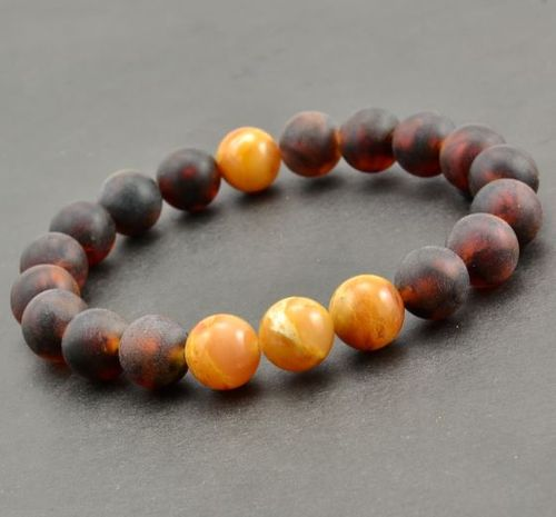 Beaded Bracelet For Men Made of Amazing Healing Baltic Amber