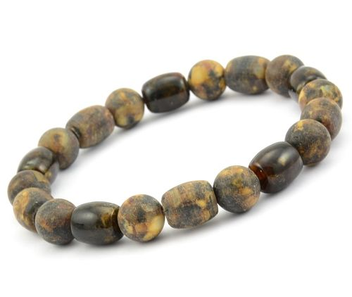 Beaded Bracelet for Men Made of Amazing Baltic Amber