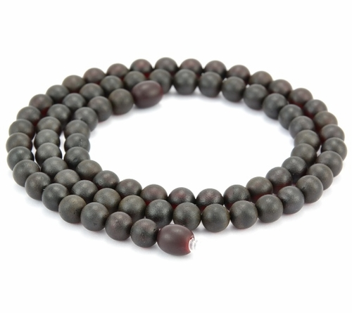 Men's Beaded Necklace Made of Black Matte Baltic Amber