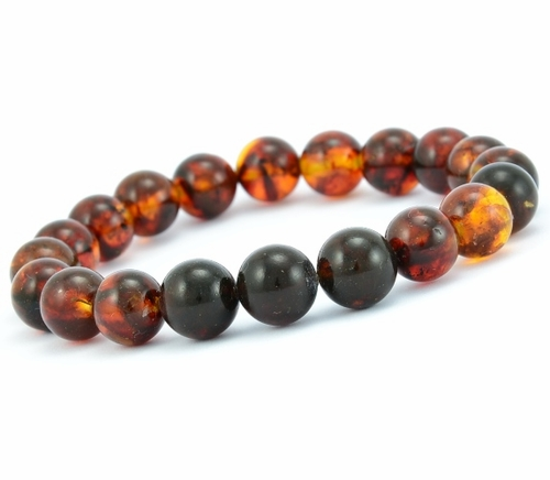Bracelet for Men with Cognac and Black Healing Amber