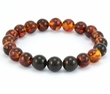 Bracelet for Men with Cognac and Black Baltic Amber