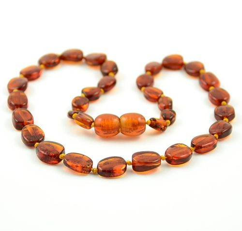 Amber Necklace Made of Cognac Healing Baltic Amber