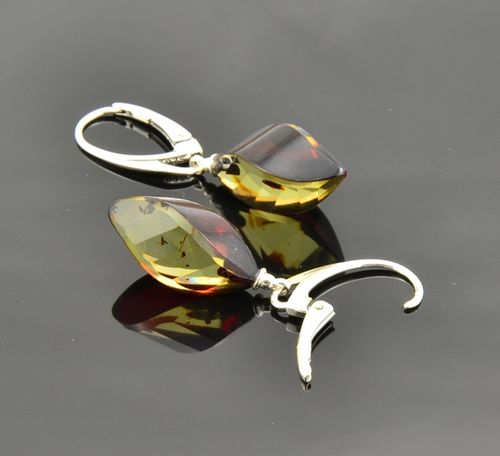 Faceted Amber Earrings Made of Amazing Baltic Amber