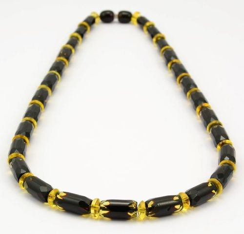 Faceted Amber Necklace Made of Precious Healing Baltic Amber