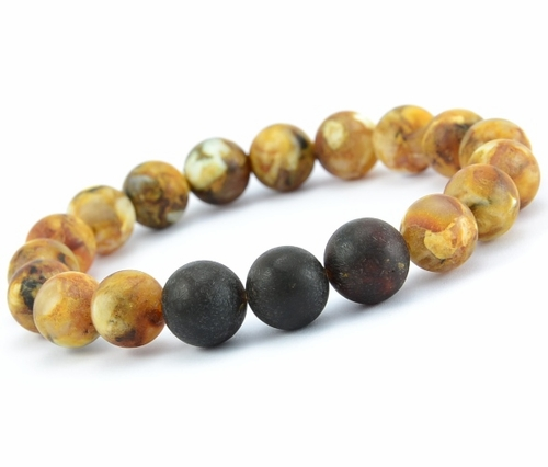 Guys Beaded Bracelet with Matte Baltic Amber