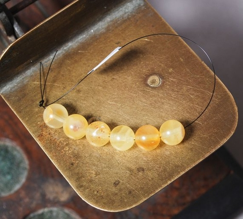 Lot of 5 Perfectly Round Butterscotch Baltic Amber Beads - SOLD OUT