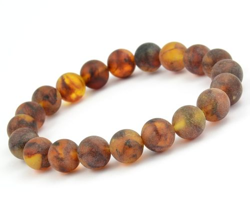 Men's Beaded Bracelet Made of Matte Healing Baltic Amber