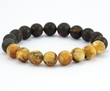 Men's Beaded Bracelet with matte Baltic Amber