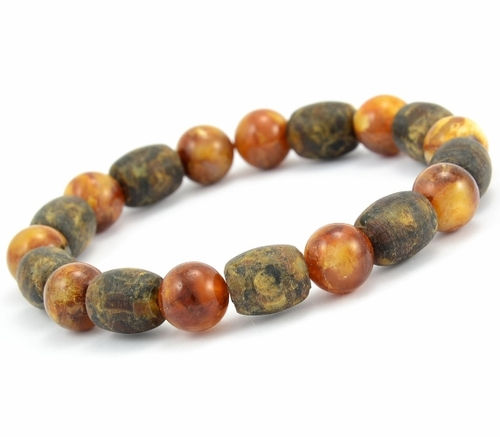 Men's Beaded Bracelet with Matte and Polished Healing Amber