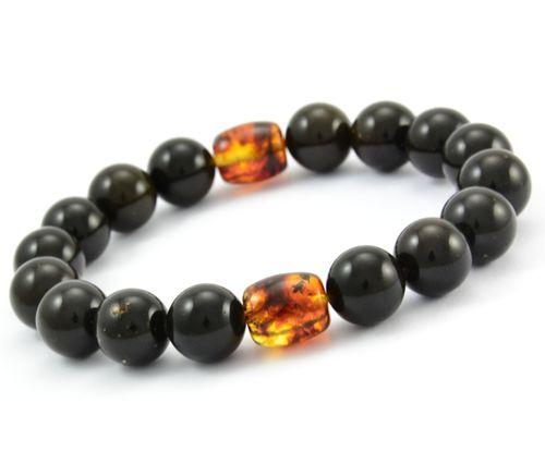 Men's Beaded Bracelet Made of Black and Cognac Amazing Amber